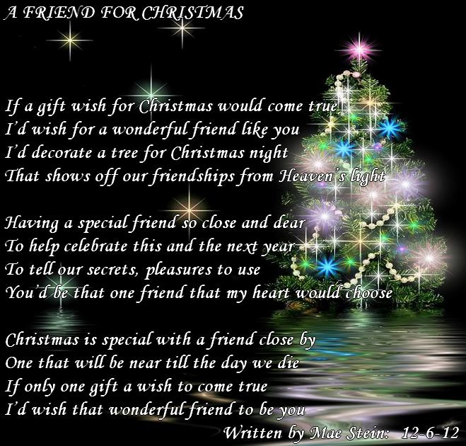 Poem About A Christmas Tree: A FRIEND FOR CHRISTMAS