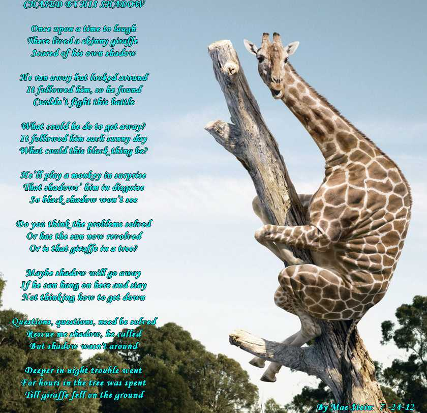 Giraffe Poem http://forums.familyfriendpoems.com/topic.asp?TOPIC_ID=37094