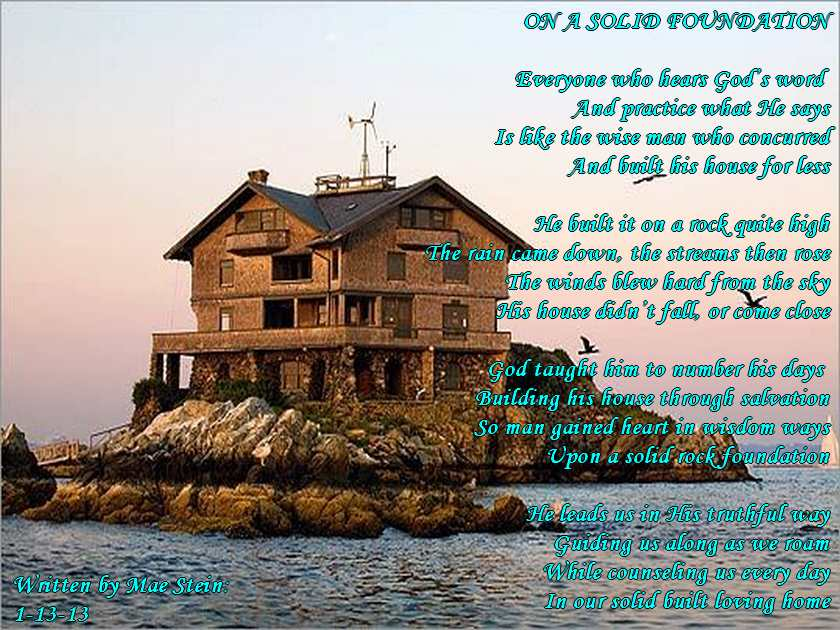 On a solid foundation spiritual poetry for Build your house