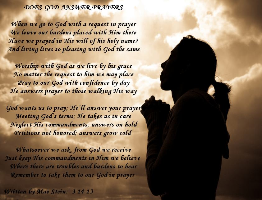 does god answer relationship prayers and poems