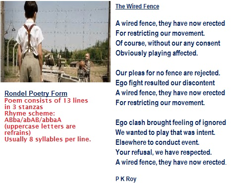 The Wired Fence The Rondel Haikus And More