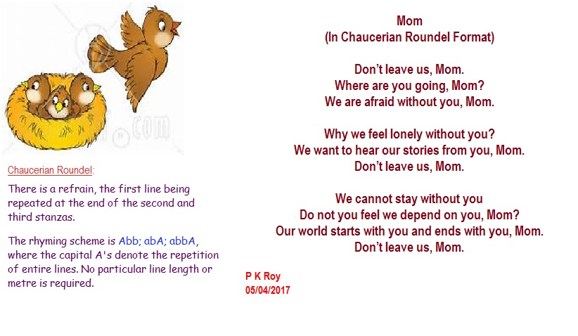 Mom Chaucerian Roundel Poems For Children