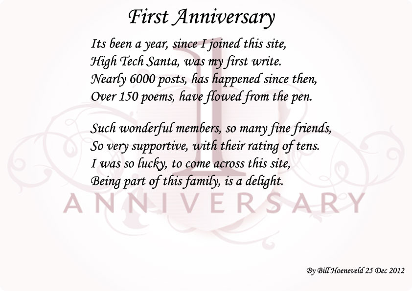 First anniversary poems about family
