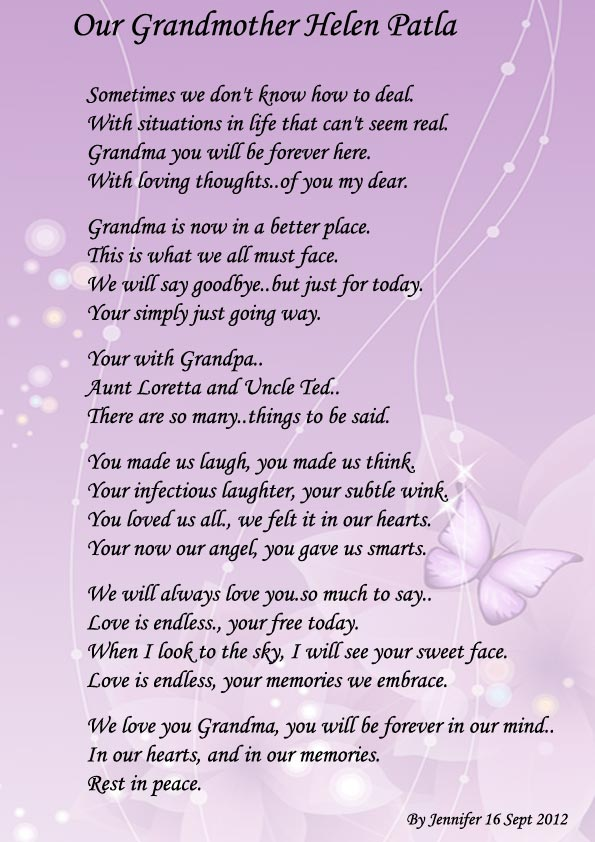 Goodbye Grandma Poems for Funerals
