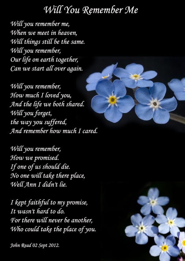 never forget me poems